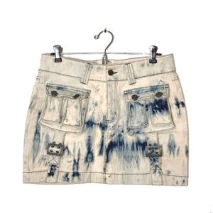 Xx by mexx bleach tie dye denim cargo skirt size 6